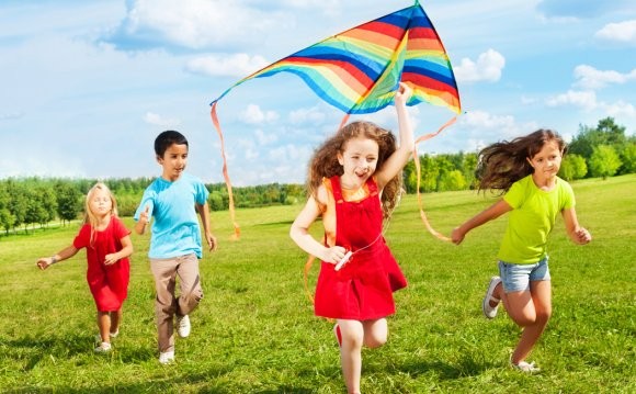 Kids Flying Kite Lifestyle