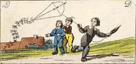 Boys flying a kite. Engraving published in Germany in 1828 by Johann Michael Voltz