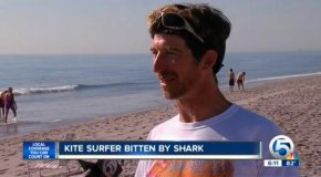 Kurt Hoffman said a shark attacked him while he was kite surfing along Delray Beach in Florida.