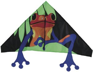 Online retailer KitesRus.com recommends several styles of kites for beginniners: delta kites (frog, above); the Easy Flyer (butterfly, below right); and the five-sized Penta (cow, below left).