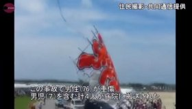 The giant kite nose-dived into a group of spectators Sunday in Higashiomi, Japan, injuring three, including a 7-year-old boy, and killing a 73-year-old man.