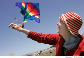 This weekend people all over America and around the world will fly kites in solidarity with thousands of Israeli and Palestinian citizens who want peace and want to reach out to one another in an actin called 10,000 Kites--Talking Kites. SHOWN: In San Francisco, at the Marina Green, many people flew kites. Leila Abu-Saba, a Lebanese woman who lives in Oakland, (she wears striped hat), launches her son's kite. Leila said: