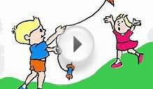 How to Draw kids flying a kite on a computer